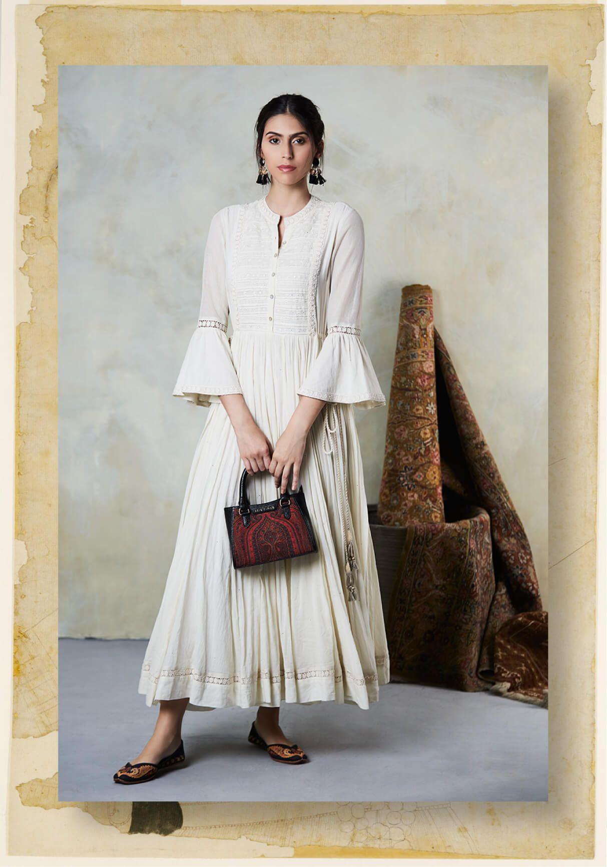 713ec5b7445 Classic white flared kurta by Ritu Kumar