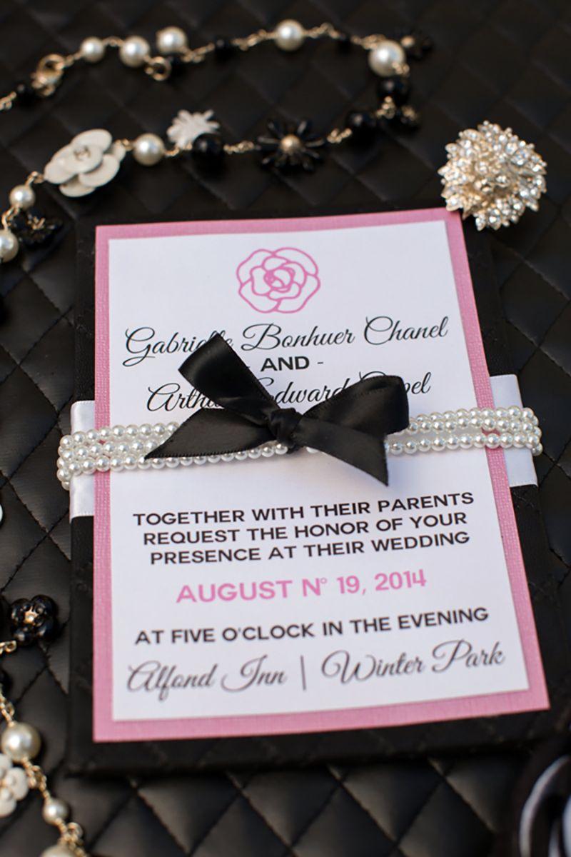 Chanel Inspiration Black And Pink Wedding Invitations The Celebration Society