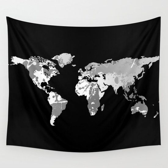 Dark monochromatic world map wall tapestry wall hanging world map dark monochromatic world map wall tapestry wall hanging world map decor home decor world map art map of the world black white decor gumiabroncs Image collections