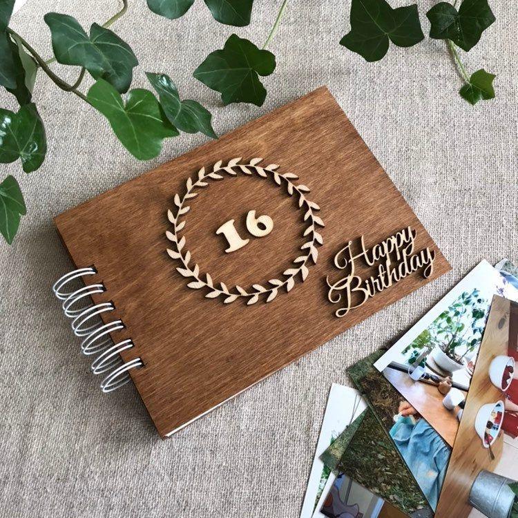 16th Birthday Scrapbook, Wooden Photo Album, Personalized