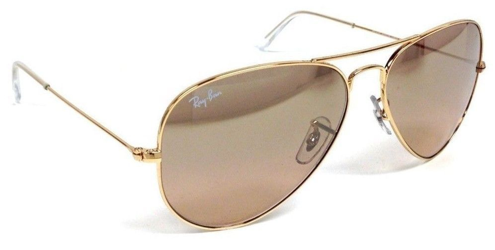 Ray-Ban RB 3025 001 3E 58mm Aviator Gold   Brown Pink Silver Mirror Lens af94ef2d04f2