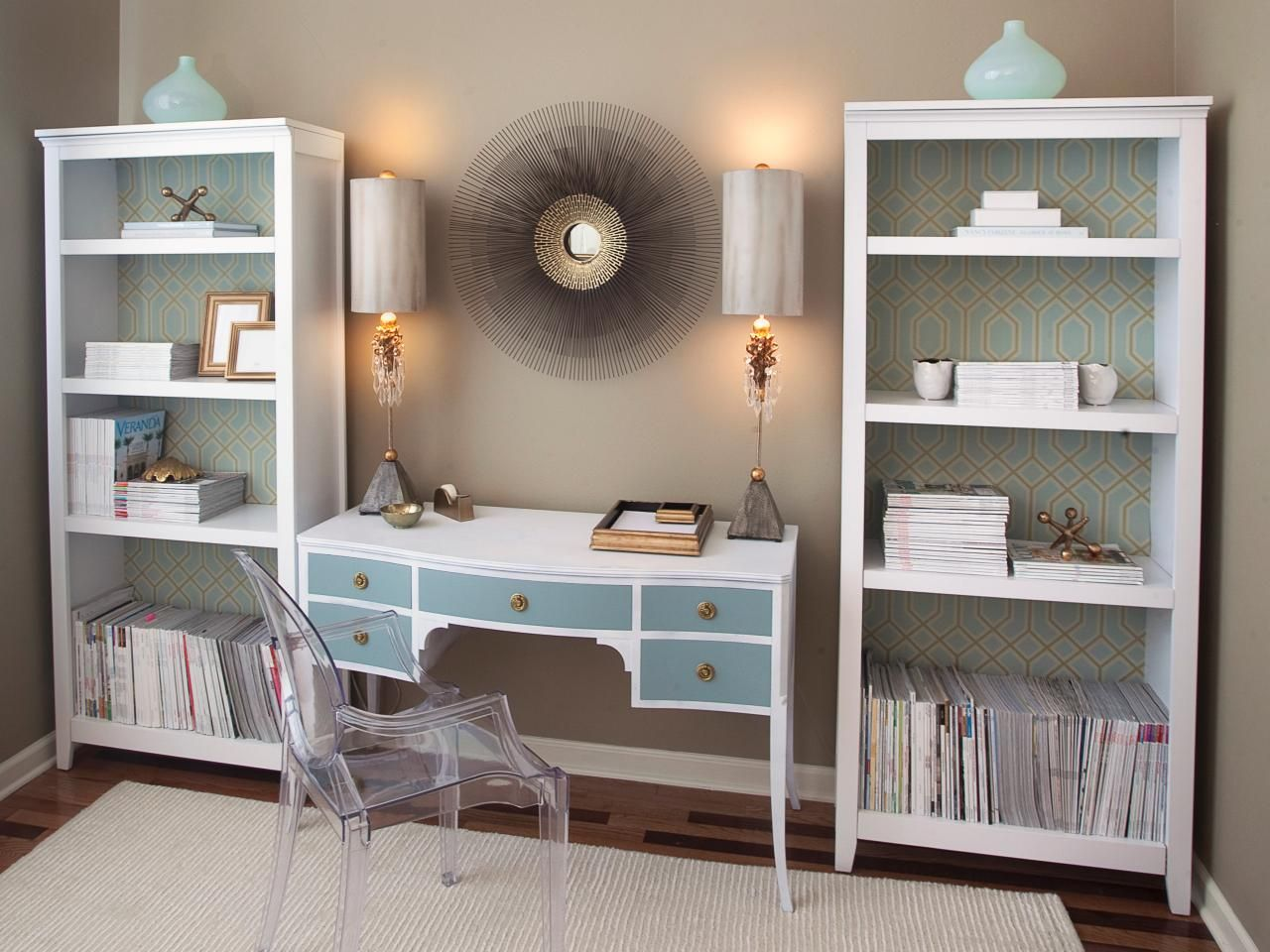 home office bookshelf. The Ordinary Bookshelves In This Home Office Are Lined With Graphic Fabric To Give Them A Punch Of Color And Pizzazz. Desk Is Vintage Piece Painted Bookshelf