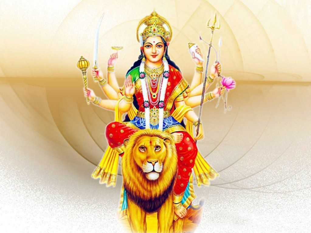Download Latest Durga Ji Sitting On Lion 4k Wallpaper Images