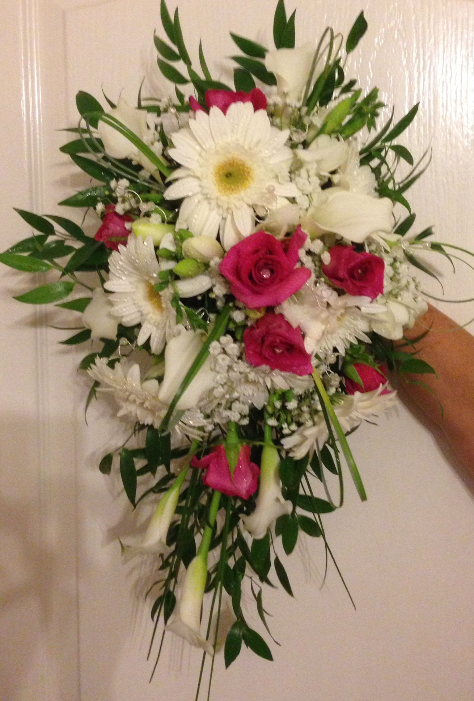 Small fresh flower bridal bouquet, gerberas, roses, calla lilies and ...
