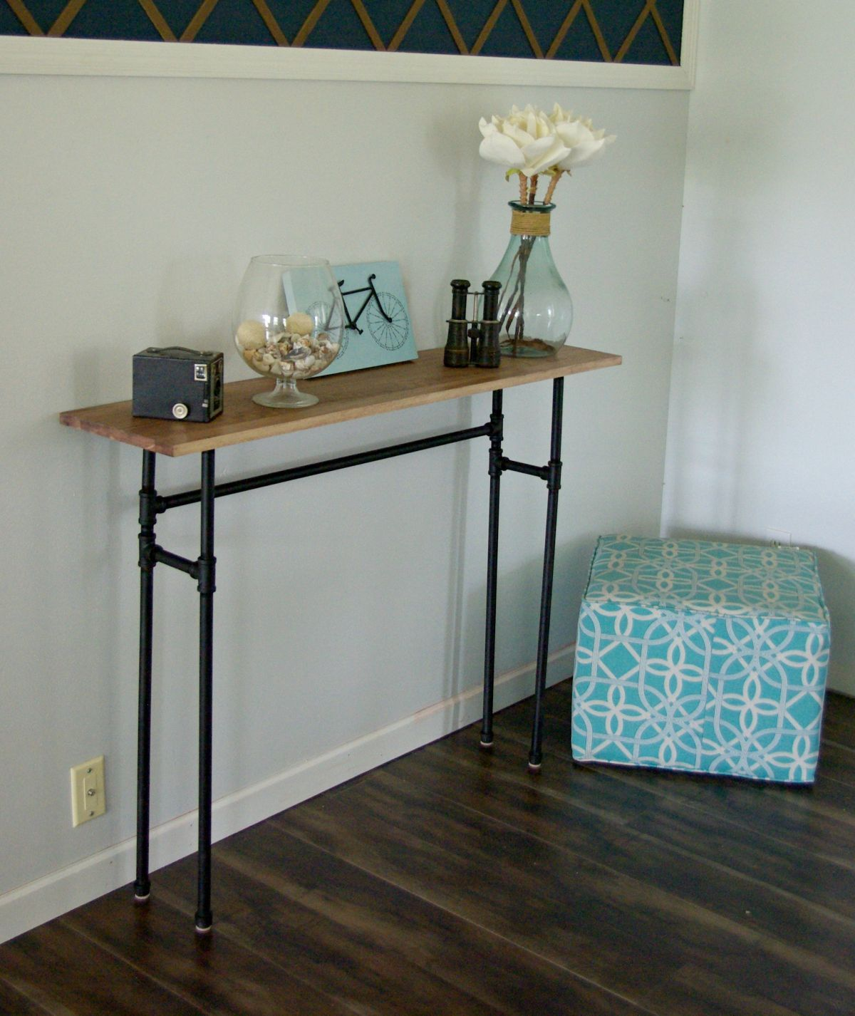 How to build a rustic table using galvanized pipes rustic table diy simple console table from pipes geotapseo Image collections