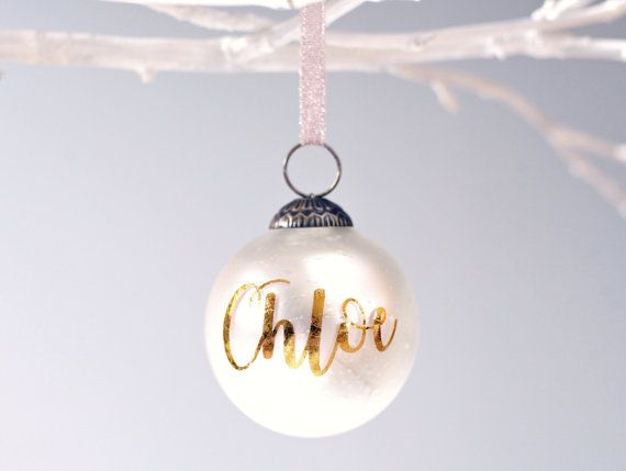 Gold foil personalized glass Christmas ornaments, Vintage-inspired ...