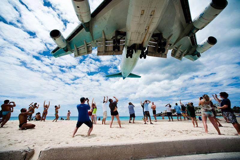 an airport right by the beach, the planes come in very low...