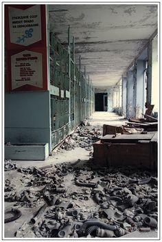 Chernobyl School Building - gas masks
