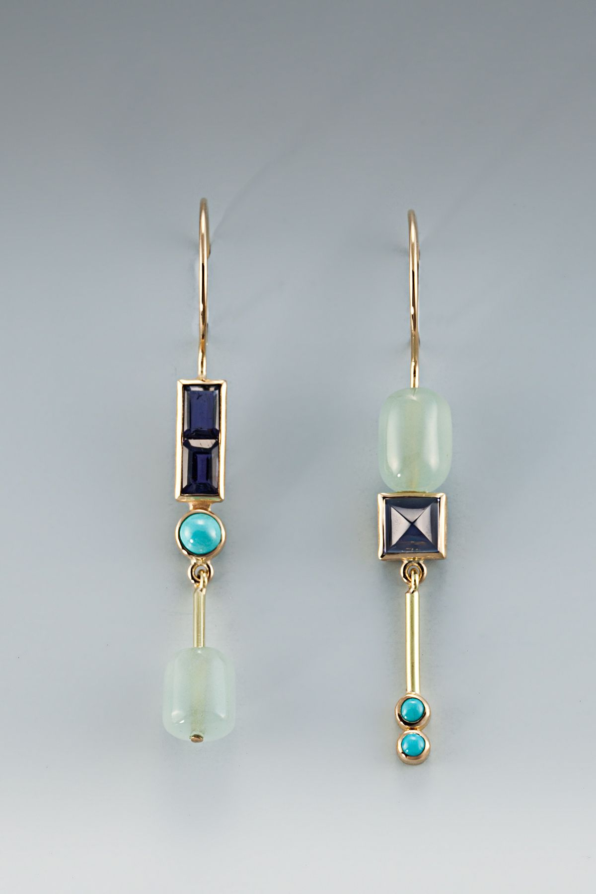 Earrings 18kt aqua iolite turquoise jewelry for Gioielli di design