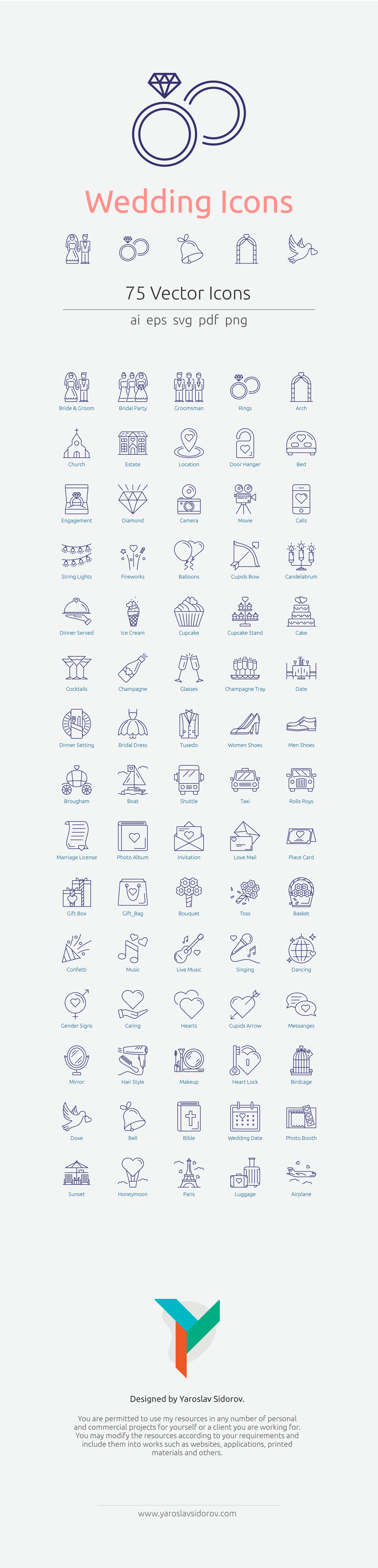 Wedding Icons in Vector and PNG #excelwordaccessetc