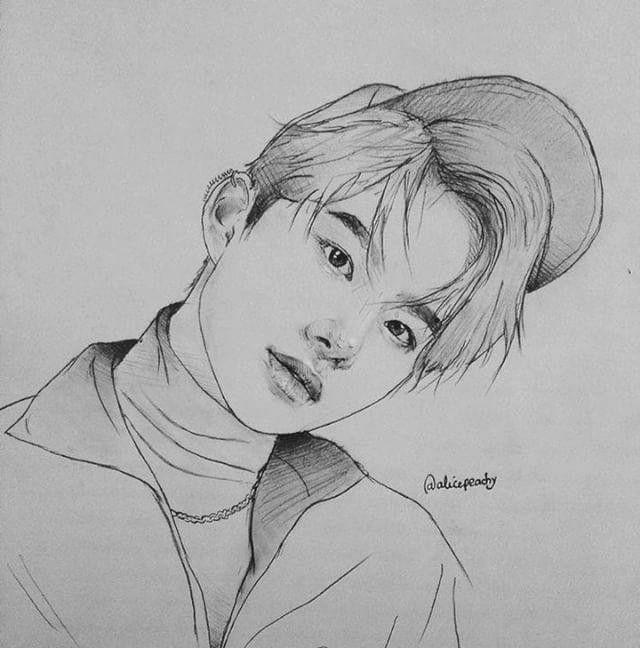 Jungwoo My Uwu Sketsa Lukisan Cara Menggambar