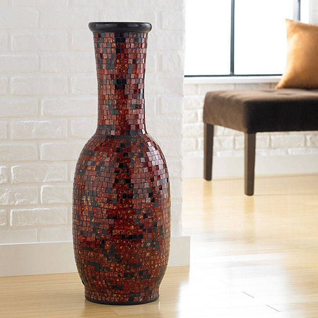 Handmade Aged Copper Mosaic Floor Vase Indonesia Aged Copper
