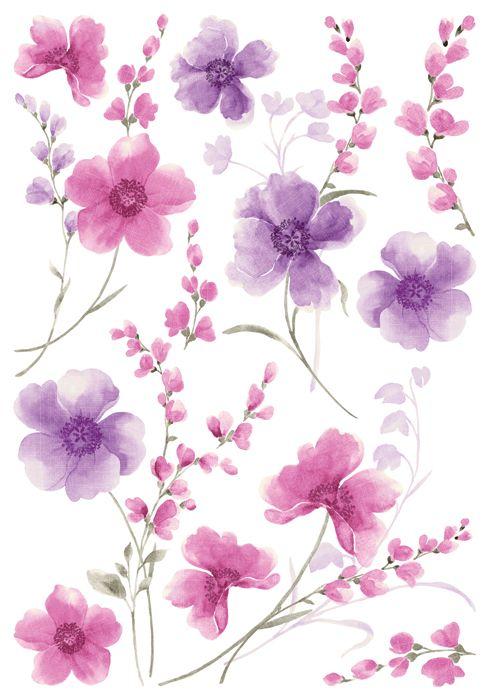 Sisustustarrat - Sisustuskuvatarrat - Purple Flowers - Hyvän Tuulen Puoti
