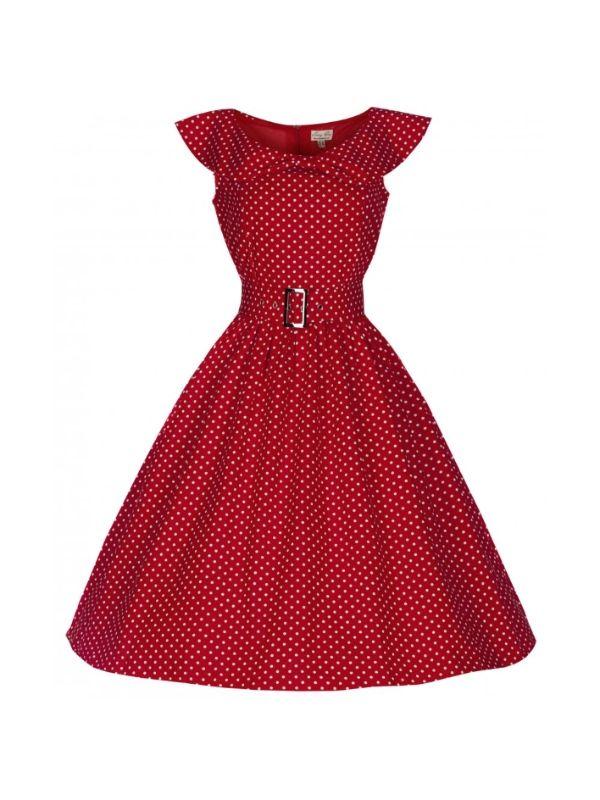 1e85b97fc1db Retro šaty Lindy Bop Hetty Red Polka