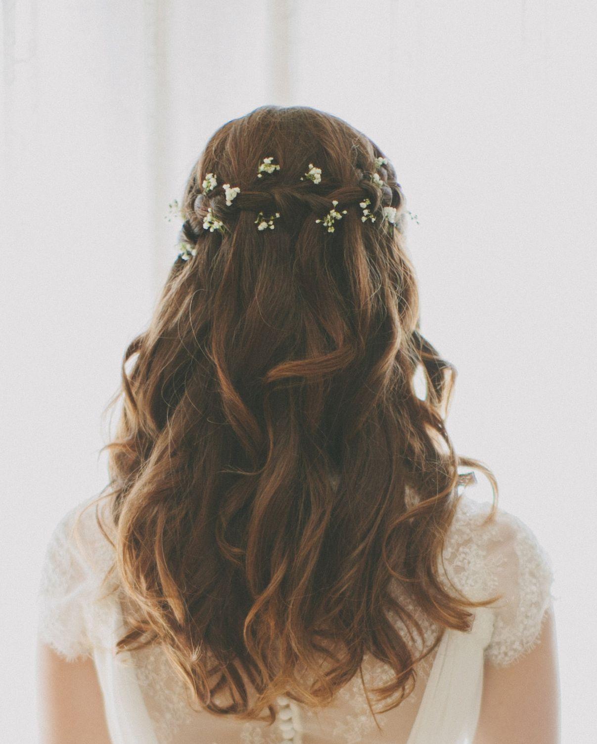 Waterfall braid wedding hair with baby\'s breath | Dresses ...