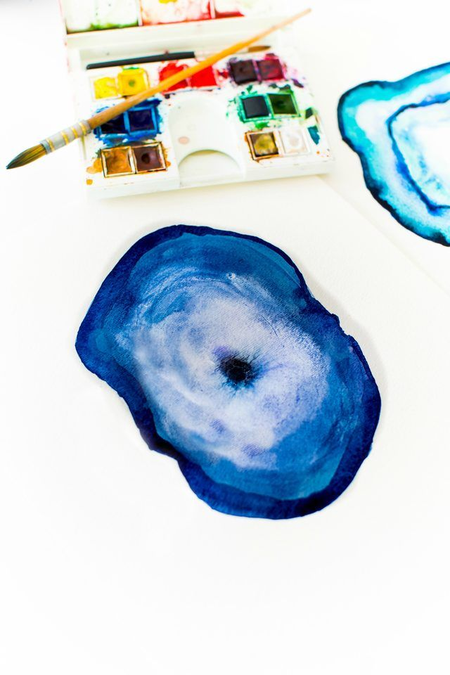 Diy Agate Watercolor Painting In 2020 Watercolor Art Diy