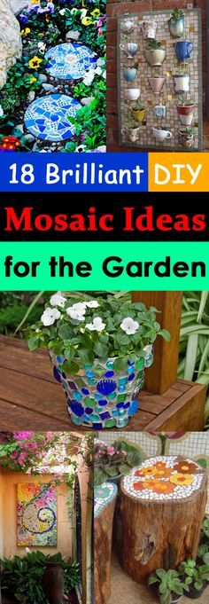DIY Mosaic projects are really popular these days and here're a few creative DIY mosaic ideas for garden to follow.