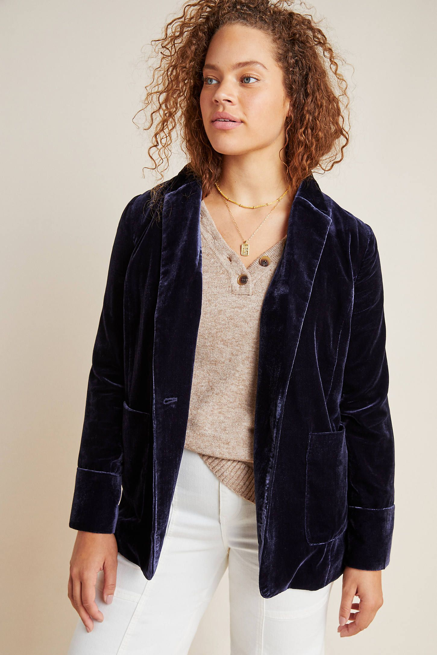 Micah Velvet Blazer by Kachel in Blue Size: 10, Women's Jackets at Anthropologie