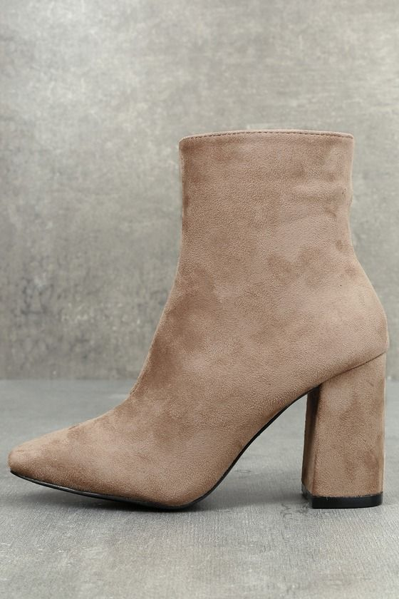 96c51416376 My Generation Taupe Suede High Heel Mid-Calf Boots | See It Want It ...