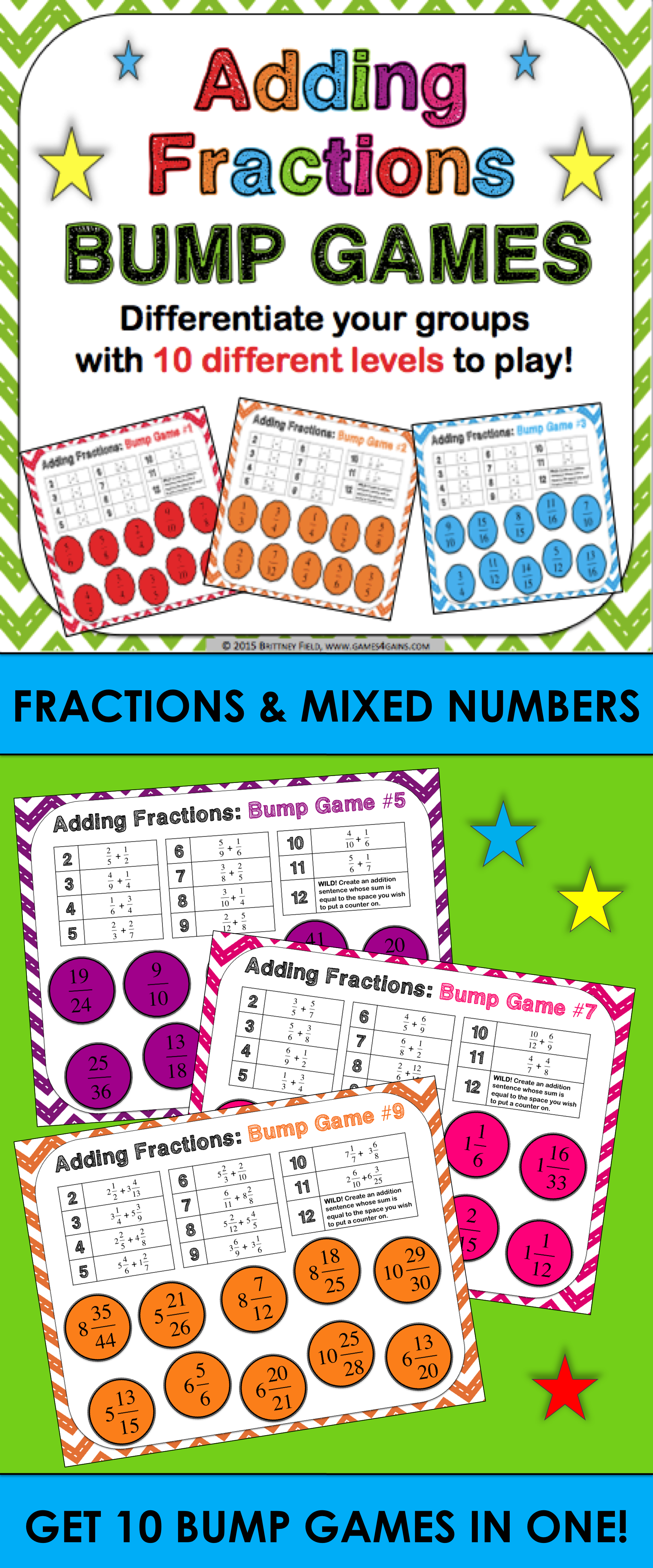 Differentiated Fraction Addition Games Adding Fractions