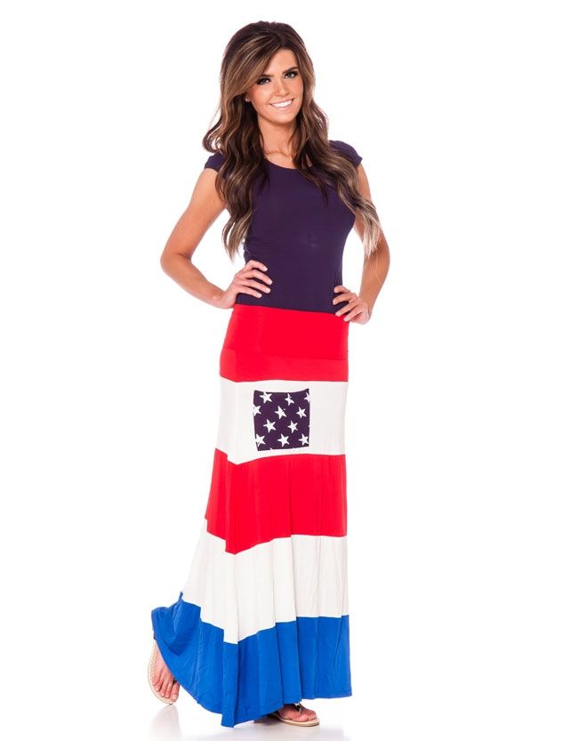 cb523499a8 Red White Blue Maxi Skirt