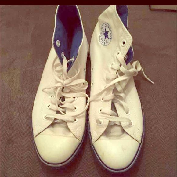Converse High top White with blue trim they are a little dirty but in ok condition they are a size 11 in women's and a 9 in men's Converse Shoes Sneakers