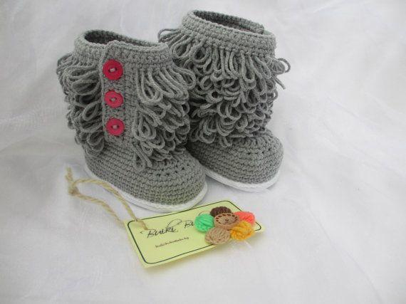 Crochet Ugg inspired Baby booties, Crochet Baby Boots, Gray Baby ...