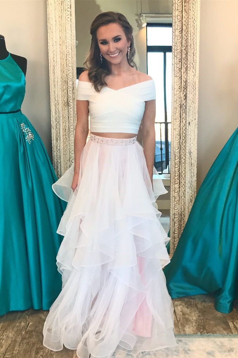 prom dress two piece prom dress white and pink prom dress