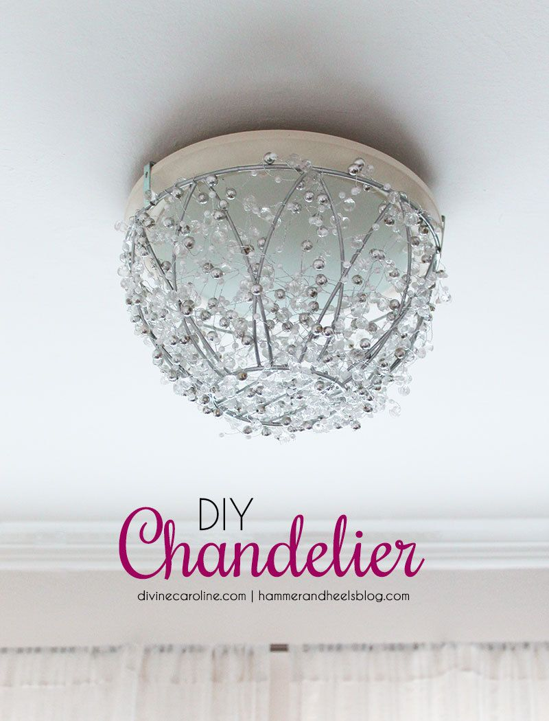 How to make a diy chandelier in an hour diy chandelier improve your boring old light fixtures with this diy chandelier tutorial it only takes an arubaitofo Choice Image