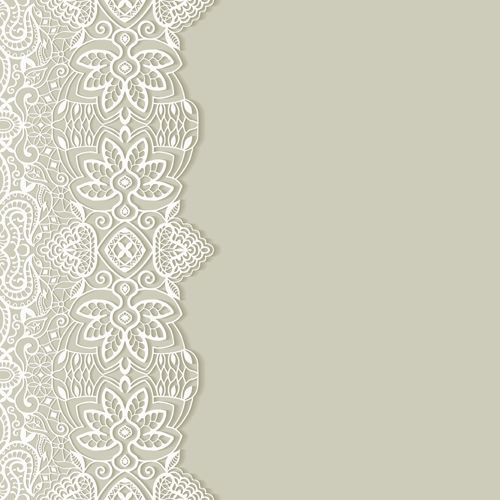 white lace with colored background vector set 01
