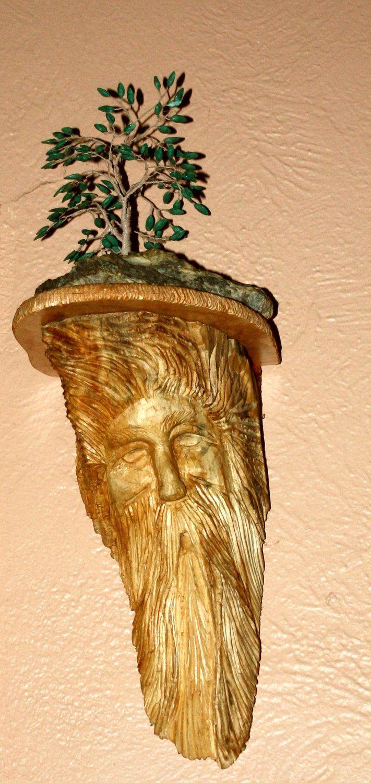 Wood Spirit Shelf Hand Carved Wood Carving Wall Decor | Berlin Glass ...