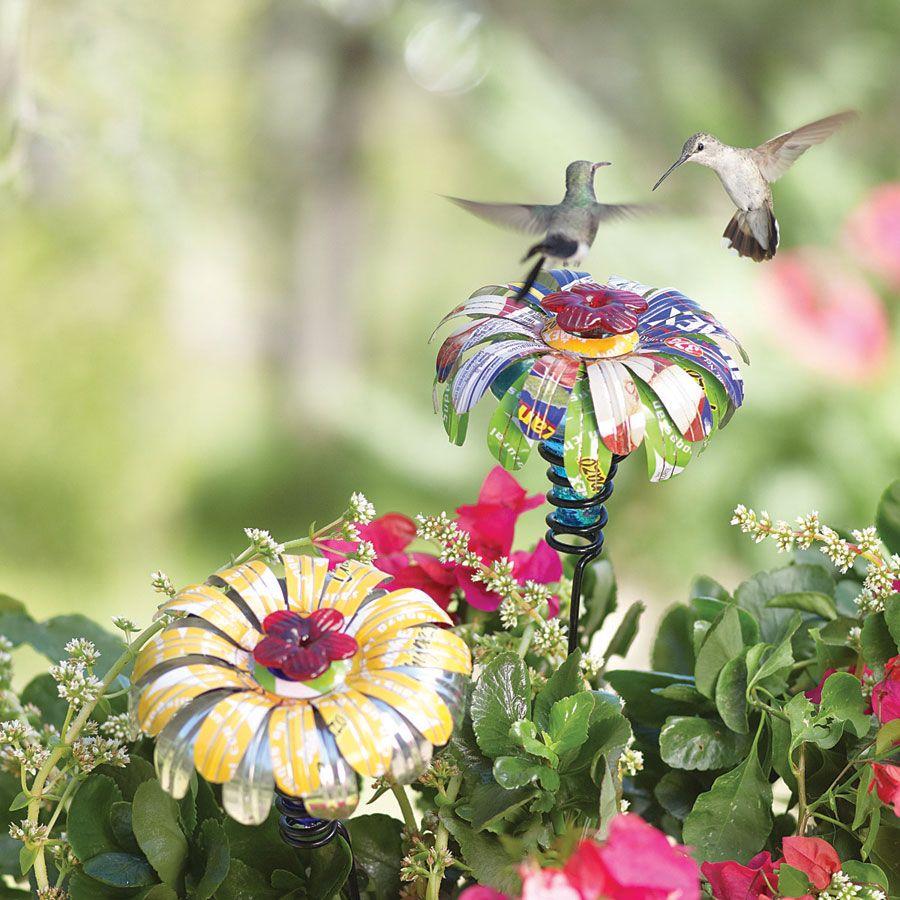 Tin Flower Hummingbird Feeders Acacia Hummingbird