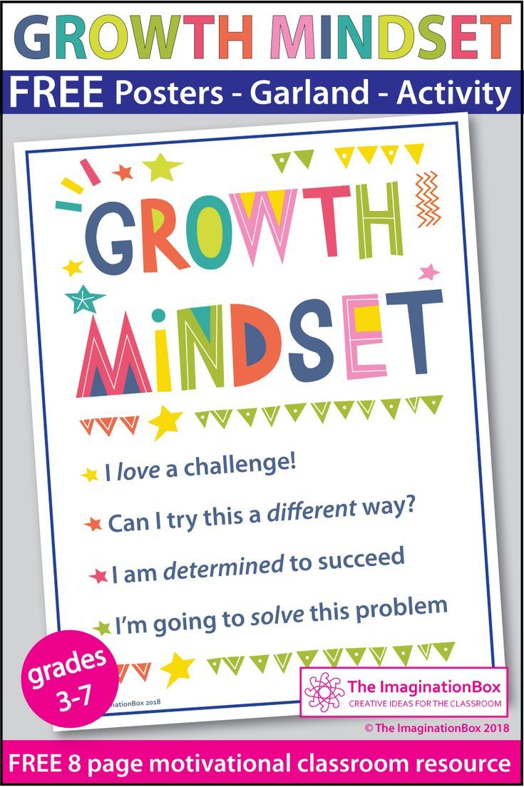 Use these fun, colorful FREE printable Growth Mindset posters and ...