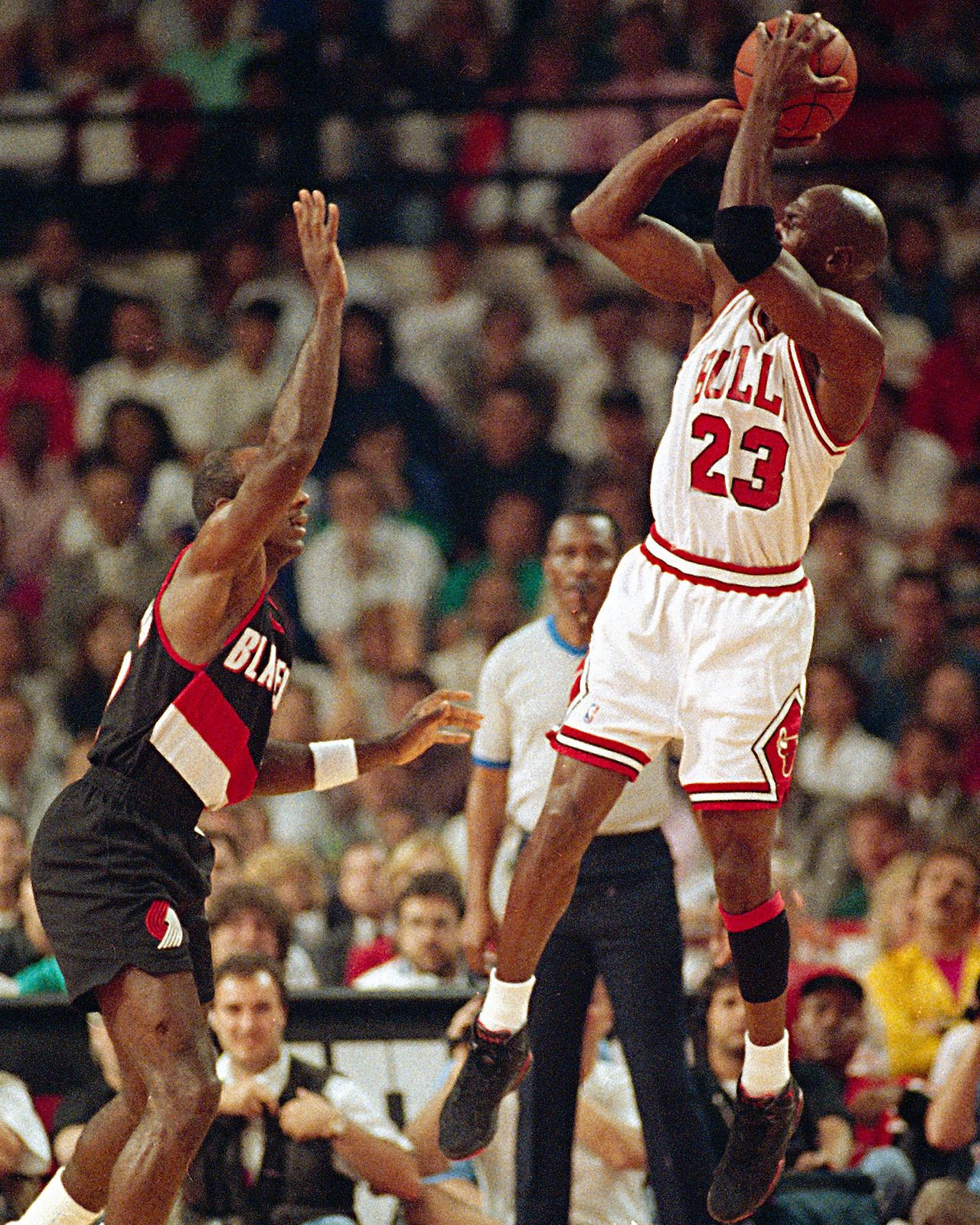 """June 3, 1992 - Host Chicago defeated Portland 122-89 in Game 1 of the NBA Finals. Michael Jordan, who finished with a game-high 39 points, set NBA Finals records for points scored in a half (35) and 3-pointers made in one half (six). After the sixth trey, Jordan turned to the midcourt TV camera and shrugged as if to say, """"I guess everything's going in."""""""