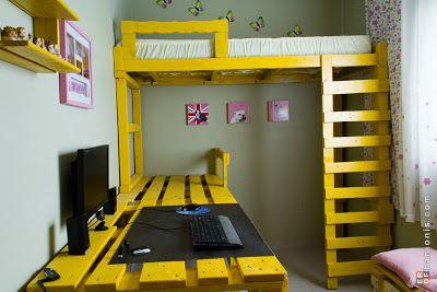 Etagenbett Und Schreibtisch Aus Paletten