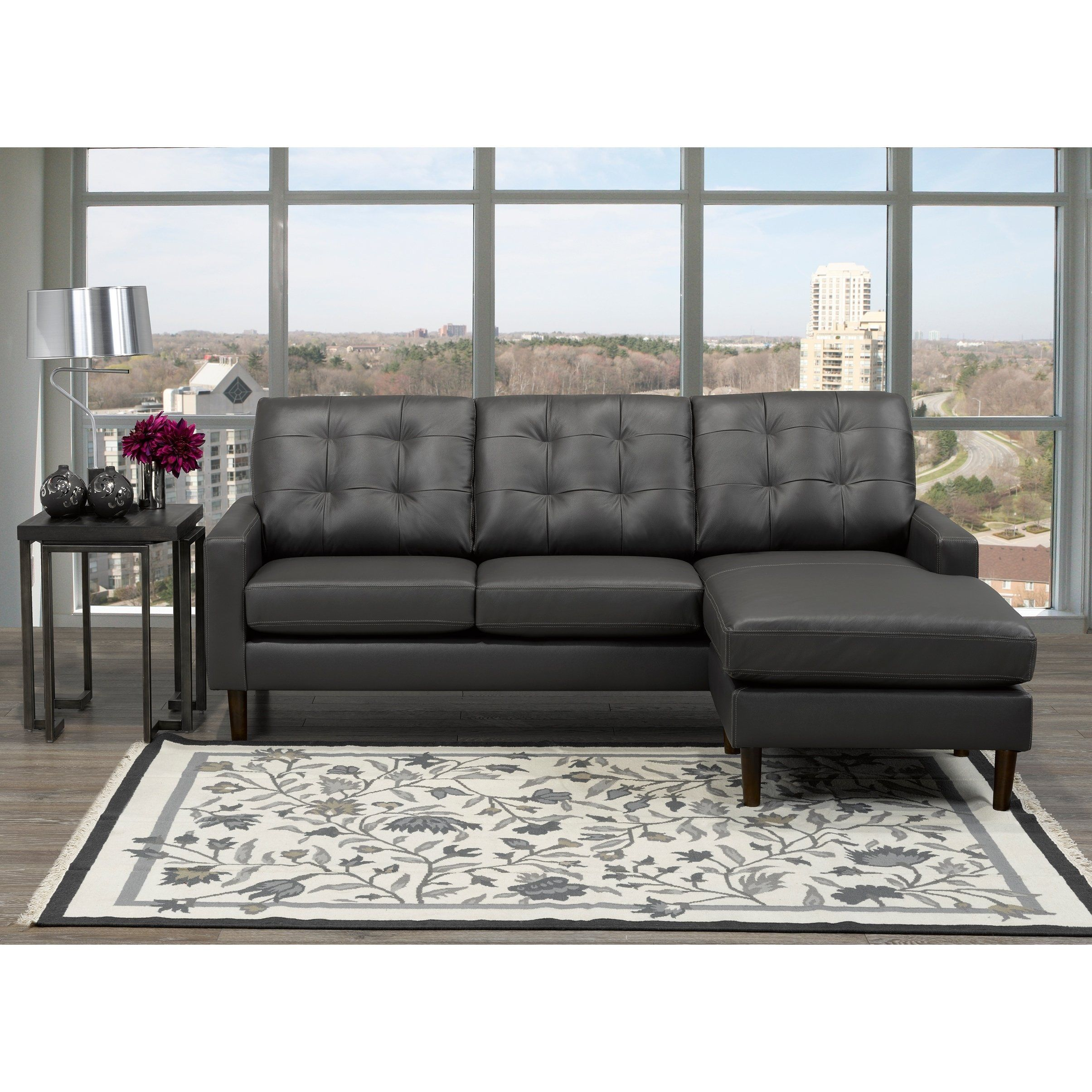 Chet Mid Century Modern Dark Grey Top Grain Leather Tufted ...