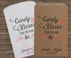 Candy and Kisses Wedding Favors, Wedding Candy Bags, Candy Buffet ...