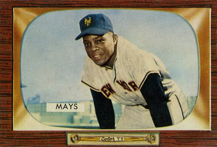 1955 Bowman Willie Mays 184 Baseball Card Value Price Guide Baseball Card Values Bowman Baseball Cards Baseball Cards