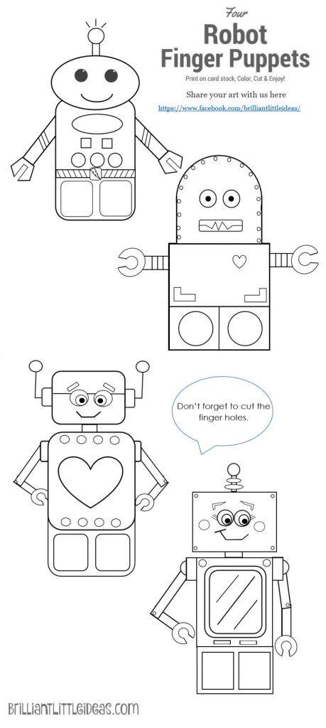 4 Robot Finger Puppets Printable Crafts Finger Puppets Robots