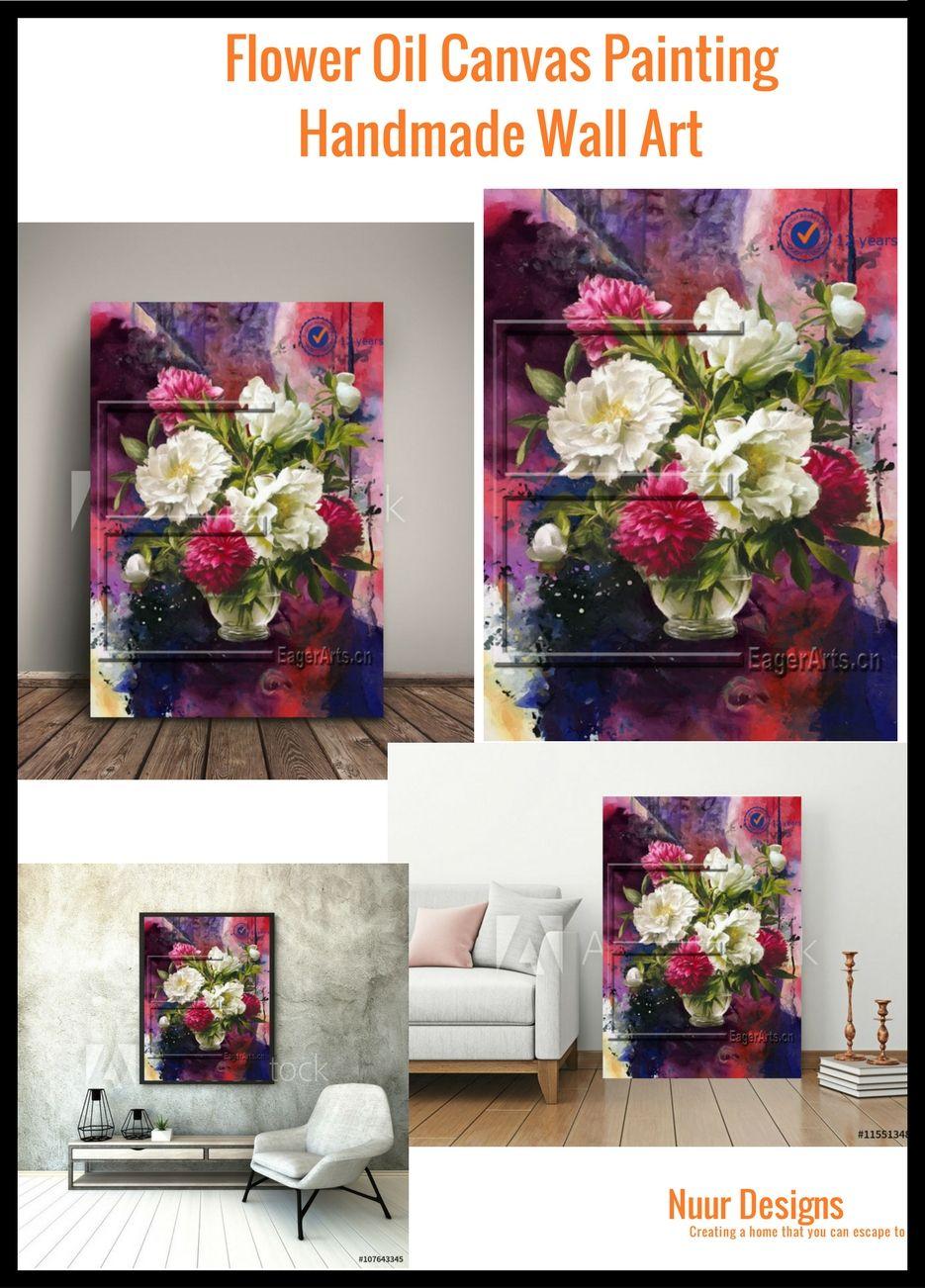 Flower Oil Canvas Painting Handmade Red White Purple Wall Art Decor