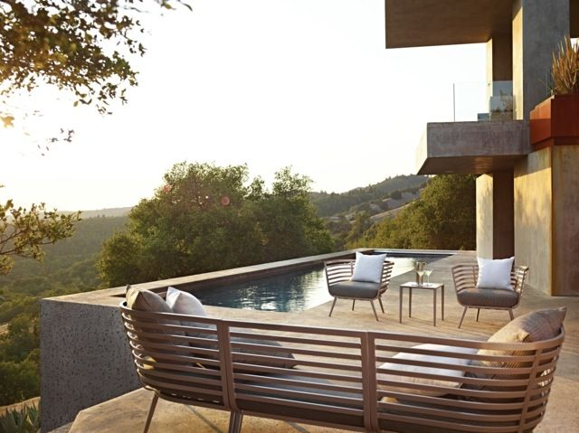 Moderne Terrassengestaltung Teak Gartenmöbel Gartenbank