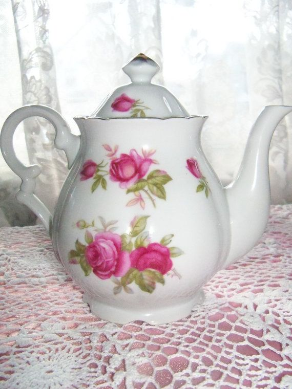 Vintage Rose Teapot Pink Rose LEFTON Tea Pot by MandaToryTreasures, $22.00