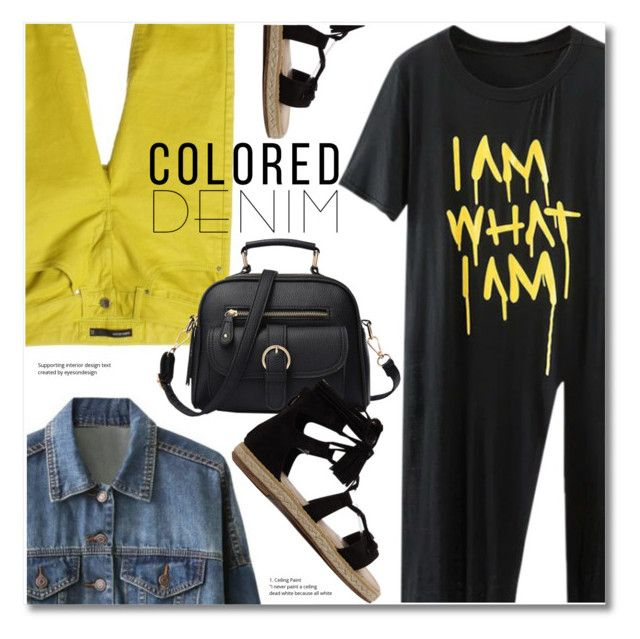 """""""Spring Trend: Colored Denim"""" by svijetlana ❤ liked on Polyvore featuring Karen Millen, coloredjeans and zaful"""