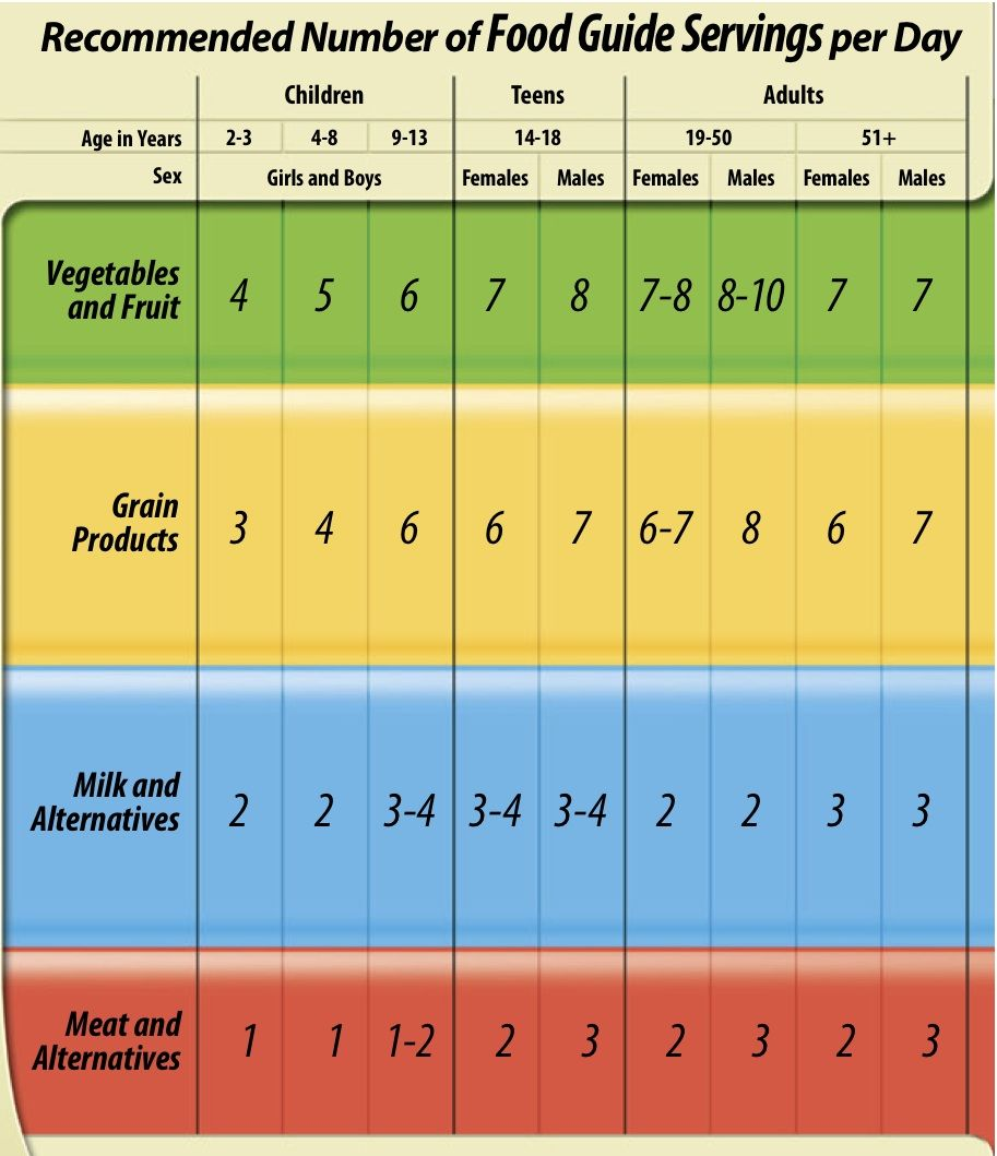 recommended daily protein intake canada food guide