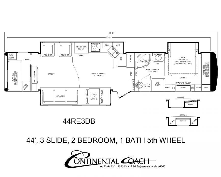 Continental coach 43 39 double bedroom floorplans rv 39 s - 5th wheel campers with 2 bedrooms ...