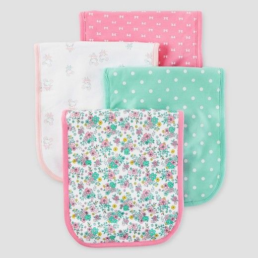 694146e1c Baby Girls' 4pk Burp Cloth Set - Just One You™ Made by Carter's®  Mint/Pink/White : Target