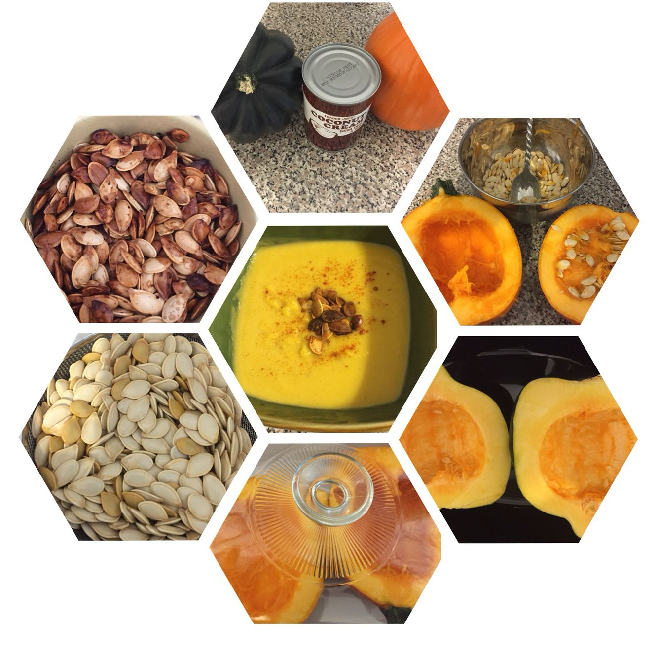 Autumn Soup Acorn Squash; Pumpkin; Heavy Coconut Milk; Course Sea Salt and All Spice. Roast seeds with pink himalaya salt and cold pressed olive oil. Garnish with Cayenne pepper. Delicious! #sizesixsoon #healthywealthywise #cleaneating #Imaluxurylady