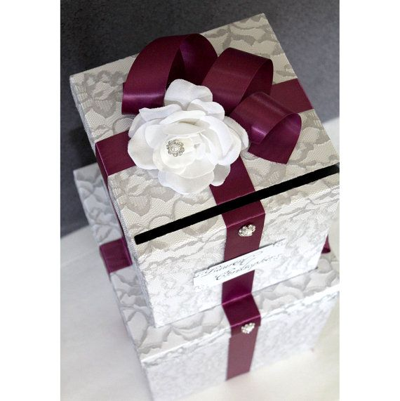 Wedding Card Box Silver Gray Lace Sangria Trim Pearl Jewels White Rose