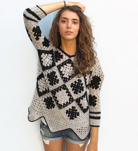 Retro Women Crochet  Granny square sweater Grey-Black by KrissWool