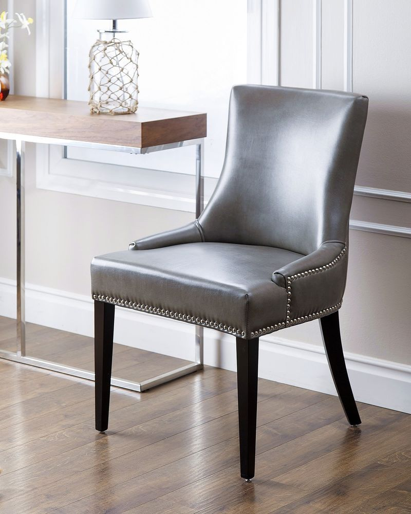 Leather Dining Chair Traditional Grey Finish Nailhead Trim Wood